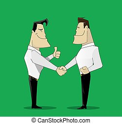 two cheerful businessman handshaking on green background