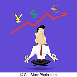 Guru of exchange rates - Businessman meditating on exchange...