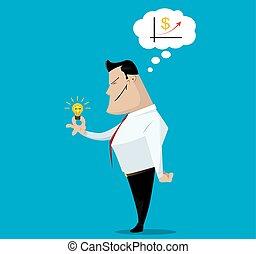 Bright idea. - Successful business concept, make right...