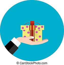 Vector hand giving present in flat style - gift concept...
