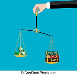 Symbols of Justice - Weighting scale inclined to the side of...