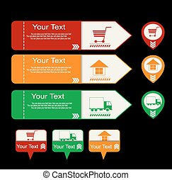 Online shopping symbols: buy, delivery and home symbols two...
