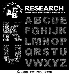 RESEARCH ABC Word cloud concept illustration Print concept...