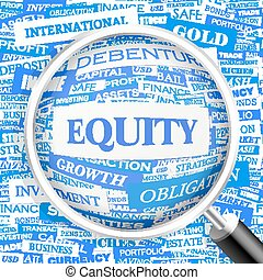 EQUITY. Concept illustration. Graphic tag collection....