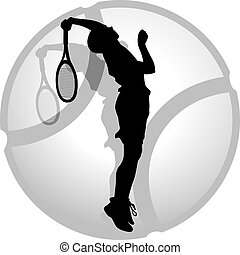 Tennis Server Silhouette - Silhouette of a tennis server...