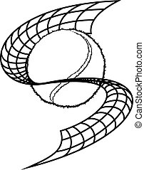 Tennis Net Swoop - Black and white illustration of a te