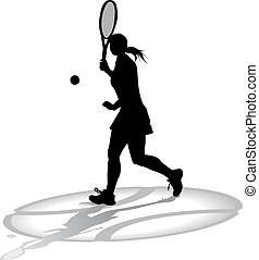 Sihouette of a Women Tennis Player - Silhouette of a woman...