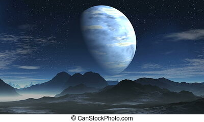 Blue gas giant - Starry night sky Slowly floating clouds...