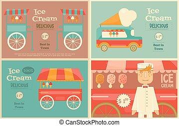 Ice Cream Posters Set in Flat Design Style. Ice Cream Vendor...