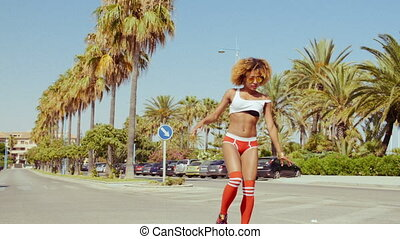 Retro Stylized Sexy Girl On Roller Skates - Retro Stylized...