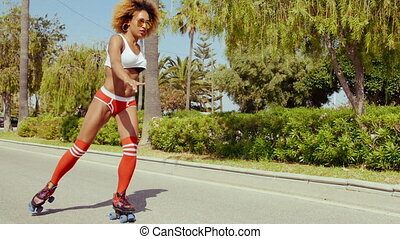 Sexy Afro American Girl in Shorts on Roller Skates - Sexy...
