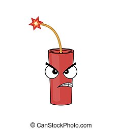 Angry stick of dynamite. Cartoon illustration. Vector