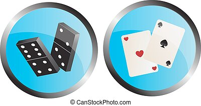 dominoes and playing cards - icon depicting the dominoes and...