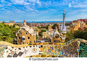 Park Guell in Barcelona, Spain - Park Guell by architect...