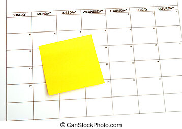 Reminder - A blank sticky note for your text on a calendar...