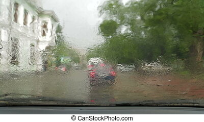 Raindrops on the windshield - Traffic In the City During...