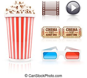 Cinema and movie icons set Eps10 vector illustration...