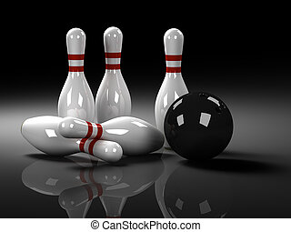 Bowling Concept , 3d rendered image