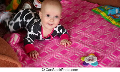 Five month baby girl - Little five month baby girl crawling...