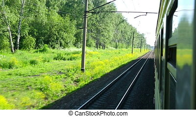 Suburban train - View from the window of the suburban train