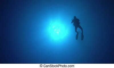 Divers Swims over Camera