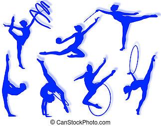 Rhythmic gymnastics exercises - Young women in rhythmic...