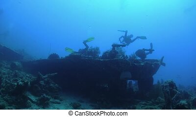 Group of Divers Swims over Ship Wreck, underwater scene
