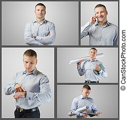 Set portrait of young businessman engaged in different...