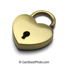 Closed Heart Lock - Brass Heart Isolated on a White...