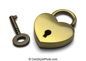 Heart Lock and Key - Brass Heart with Key Isolated on White...