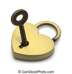 Heart Lock - Brass Heart with Key Isolated on White...