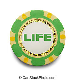 Life Poker Chip - Risking Life Gambling Poker Chip Isolated...