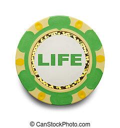 Life Poker Chip - Risking Life Gambling Poker Chip Isolated...