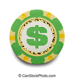 Money Poker Chip - Casion Chip with Cash Symbol Isolated on...