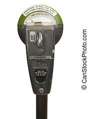 Old Parking Meter - Retro Parking Meter with Time Isolated...