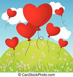 Coração, voando, balões