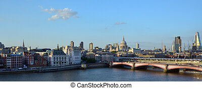 Aerial panoramic view of St Pauls Cathedral and London...