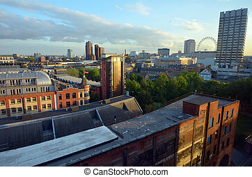 Aerial cityscape of South London and London Eye in the...