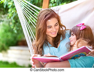 Happy family outdoors - Happy beautiful mother with cute...
