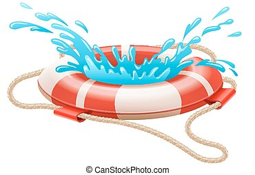 Life buoy for drowning rescue on water Eps10 vector...
