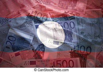 colorful waving laotian flag on a euro money background