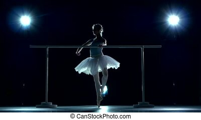 Beautiful ballet dancer on blue. Ballerina is wearing white tutu and pointe shoes