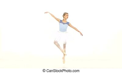 ballet dancer posing on studio background - Beautiful female...