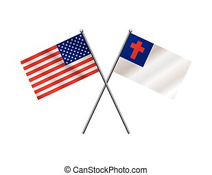 American and Christian Flags Illustration - An illustration...