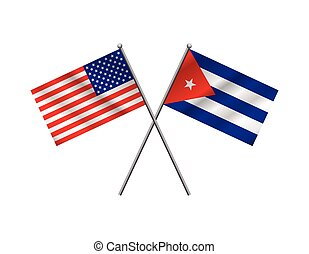 American and Cuban Flags Illustration - An American flag and...