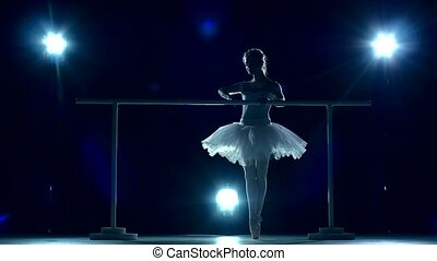 Ballerina standing near a wooden wall on pointe, slow motion