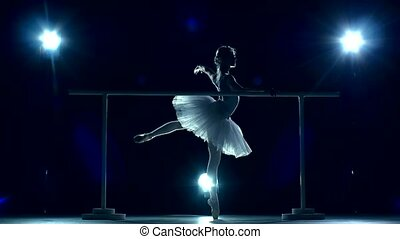Ballerina is wearing white tutu and pointe shoes slow motion...