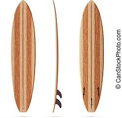 Wooden retro vector malibu surfing board - Wooden texture...