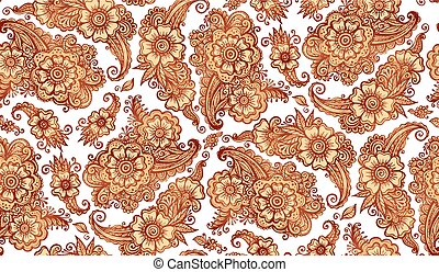 Henna tattoo style vector seamless pattern - Henna tattoo...