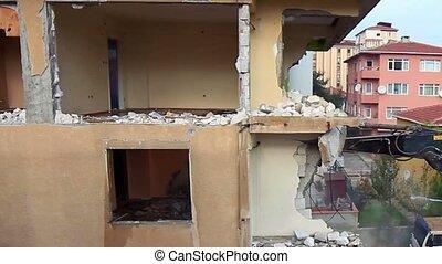 Abandoned house under demolition